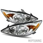 For 02-04 Toyota Camry Left+Right Chrome Clear Crystal/Amber Headlights Lamps