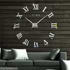 Modern DIY Large 3D Wall Clock Sticker Metal Watches Roman Numeral Home Decor