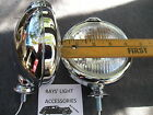 NEW SMALL 6 - VOLT CLEAR VINTAGE STYLE FOG LIGHTS WITH FOG CAP ON LIGHTS
