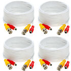 4 x 20ft Security Camera Cable CCTV Video Power Wire BNC RCA White Cord DVR