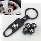 Racing flag For MINI  Wheel Tyre Valve Dust Cap Keyring Logo Emblem Tire Black