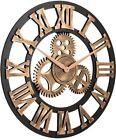 23 In. Noiseless Gear Wall Clock Retro Rustic Vintage Wooden Roman Anti-Bronze