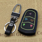 New Blue Leather Remote Smart 5 Buttons Key Holder Cover Case For Cadillac Fob