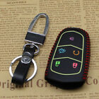 New Red Leather Remote Smart 5 Buttons Key Holder Cover Case For Cadillac Fob