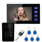 "Touch Key 7"" TFT LCD Wired RFID Password Video Door Phone Intercom Remote System"