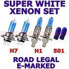 FITS PEUGEOT 308 ESTATE 2007+ SET H7 H1 501 XENON SUPER WHITE LIGHT BULBS