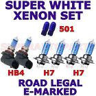 FITS MERCEDES CLK CLASS 2003-2005 SET H7 H7 HB4 501 XENON SUPER LIGHT BULBS