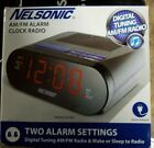 NELSONIC AM/FM Alarm Clock Radio Dual Alarm Red Display Battery Backup