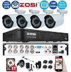 Zosi 8Ch 1080p TVI / AHD CCTV DVR + 2TB HDD w/ 4x In/Outdoor 2.0MP 36IR Cameras