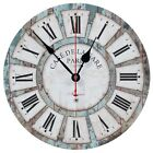 Decorative Vintage Rustic Non Ticking Silent Large Round Wall Clock 12 Inch Blue