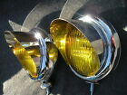 NEW PAIR SMALL VINTAGE STYLE AMBER COLOR FOG LIGHTS WITH VISORS  6-VOLTS !