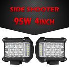 "Tri-Row 4"" 95W Side Shooter CREE LED Work Light Bar Flood Spot Driving Fog Truck"