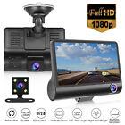 "4"" 1080P HD 170° 3 Lens Car DVR Dash Cam G-sensor Recorder + Rearview Camera"