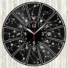 Zodiac Sign Vinyl Record Wall Clock Decor Handmade 1850