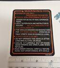 FUEL TANK RIDER WARNING 1986 1987 350X ATC 200X HONDA DECAL STICKER EMBLEM  TRX
