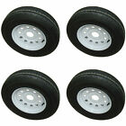 *4* West Lake ST205/75R14 LRD Radial Trailer Tires & Wheels White Mod 5-4.5