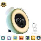LCD Digital Snooze Wake-Up Light Alarm Clock Motion Sensor USB Rechargeable Lamp