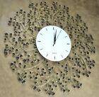 Large Metal Wall Clock Non-ticking Silent Quartz Spring Bloom Decorative Black