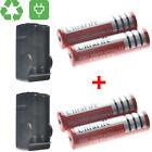 4pc 18650 3.7V 6800mAh Flashlight Li-ion Rechargeable Battery +2PC Dual Charger!