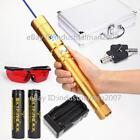 New Blue Laser Pointer Laser Pen Focusable Rechargeable Laser Pointer + 2x18650