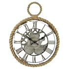 Firstime Nautical Gears Wall Clock Faux Metal & Wood Finish With Real Rope Trim