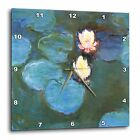 "Square Wall Clock 10""x10"" Water Lilies Printed Design Uncovered Quartz Mechanism"