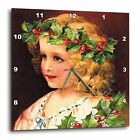 "13""x13"" Wall Clock Girl Wearing Holly Wreath Design Gold Colored Hands Aluminum"