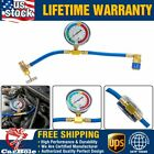 R134a Recharge Measuring Hose Gauge System A/C Refrigerant Charging Pipe 14inch