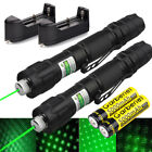 2PCS Military 532nm Green Visible Beam Laser Pointer Pen +18650 Battery&Charger