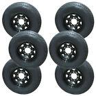 *6* Rainier ST235/80R16 Radial Trailer Tires & Wheels LRE 8-6.5 Black Spoke