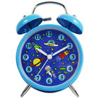 "BLUE Astronaut 4"" Loud Alarm Clock for Kids Non-Ticking Boy Gifts Bell Clock"