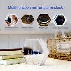 Unique LED Night Light Clock Thermometer Mirror Glass Digital Alarm Clock GL