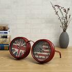 Dual Dials USA Flag Glasses Clock Desk Clock for Home Bar Pub Office Decor