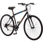Mens Road Bike 7 Speed Fitness Cycling Mongoose 700C Steel Frame Black Orange
