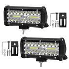 2Pcs 7inch 120W LED Light Bar Spot Flood Combo Beam Work Light Driving Fog Z8L5