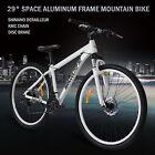 """29"""" Aluminum Frame Men's Mountain Bike 21 Speed Shimano Bicycle Disc Brake White"""