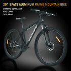 """29"""" Aluminum Frame Men's Mountain Bike 21 Speed Shimano Bicycle Black Disc Brake"""