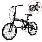 "20"" Folding Bike Mountain Bike Shimano 6 Speed Sports Foldable BicycleBlack"