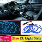 Car Blue Panel Interior Trim Light Cold EL Neon Lamp Atmosphere Glow LED Strip R