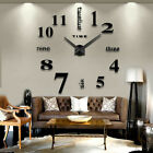 Large DIY Novel Circle Wall Clock Number Art Acrylic Mirror Sticker Home Decor