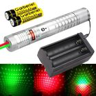 Military Green+Red Laser Pointer Lazer Pen Visible Beam Light +2*18650 +Charger