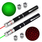 20Miles 532nm Green + 650nm Red Pointer Pen Visible Beam 2in1 Laser + 4PC Caps