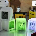 LED Digital Alarm Clock Mini Night Light Desktop Table Clocks 7 Color Changing