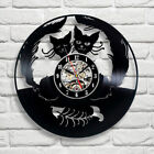 Cats Lovers Arts Vinyl Record Wall Clock Modern Vintage Home Fashion Wall Clock