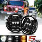 "DOT Pair 7"" inch 200W CREE LED Headlight Halo For Jeep Wrangler CJ JK LJ 97-18"
