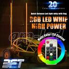 Pair of 3ft RGB Lighted LED Whip Antenna w/Flag & Remote for ATV Polaris RZR UTV