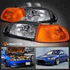 For Honda 1992-1995 Civic 2Dr/3Dr EG EH EJ Black Headlights+Corner Lights 4PC