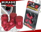 TOYOTA ALUMINUM ANODIZED RED RIMS WHEEL VALVE TIRE STEM CAPS PACK 4 PIECES