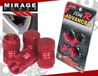 MITSUBISHI ALUMINUM ANODIZED RED RIMS WHEEL VALVE TIRE STEM CAPS PACK 4 PIECES