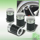4 PIECES REAL CARBON FIBER TIRES VALVE STEM WHEEL STAINLESS CAPS AUTO VEHICLES